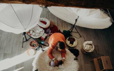 Reportage métier pour une consœur photographe newborn
